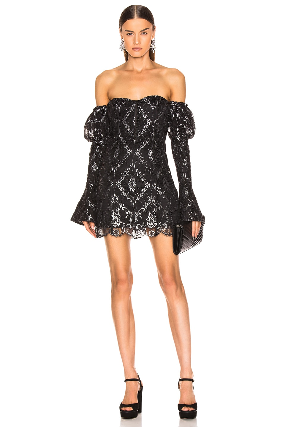 Image 1 of JONATHAN SIMKHAI for FWRD Off the Shoulder Metallic Lace Dress in Black