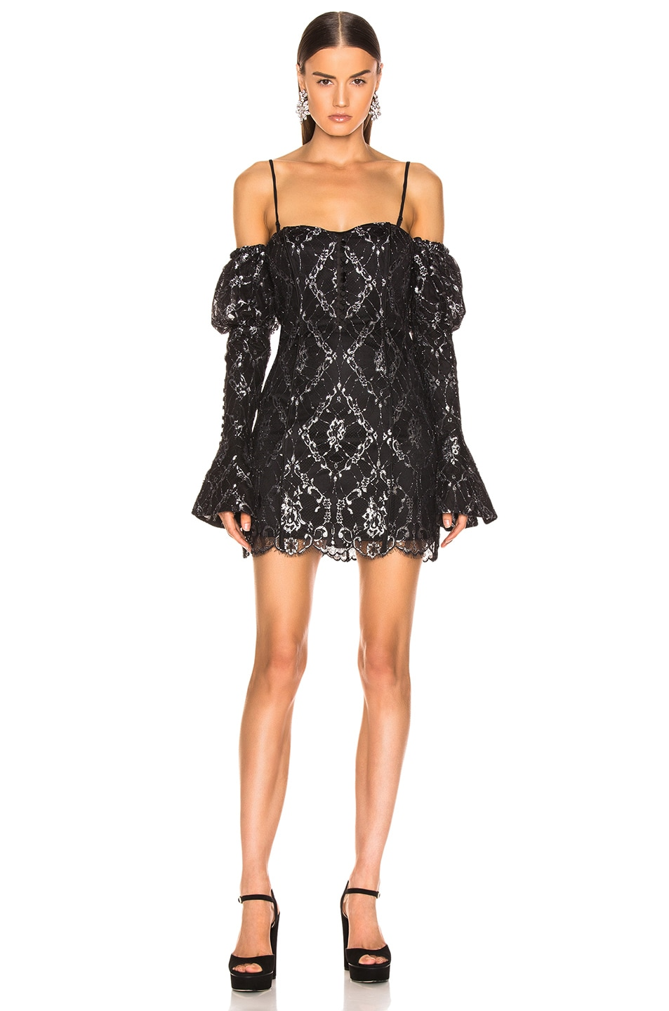 Image 2 of JONATHAN SIMKHAI for FWRD Off the Shoulder Metallic Lace Dress in Black