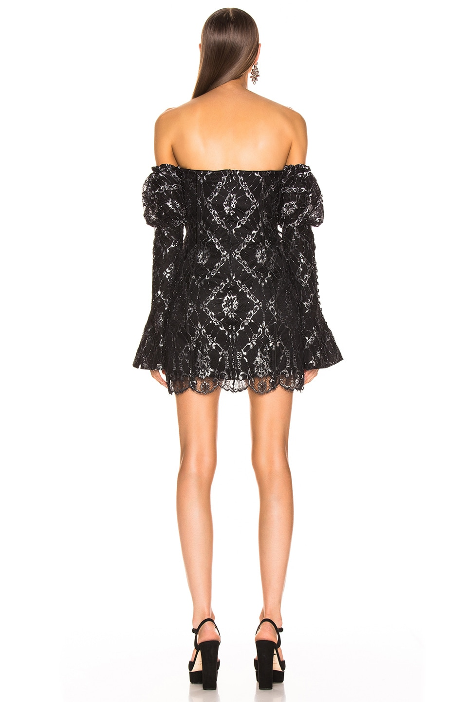 Image 4 of JONATHAN SIMKHAI for FWRD Off the Shoulder Metallic Lace Dress in Black