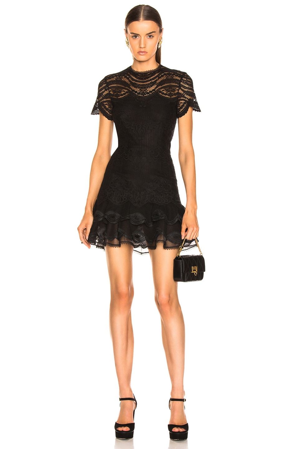 Image 1 of JONATHAN SIMKHAI Lace Cap Sleeve Mini Dress in Black