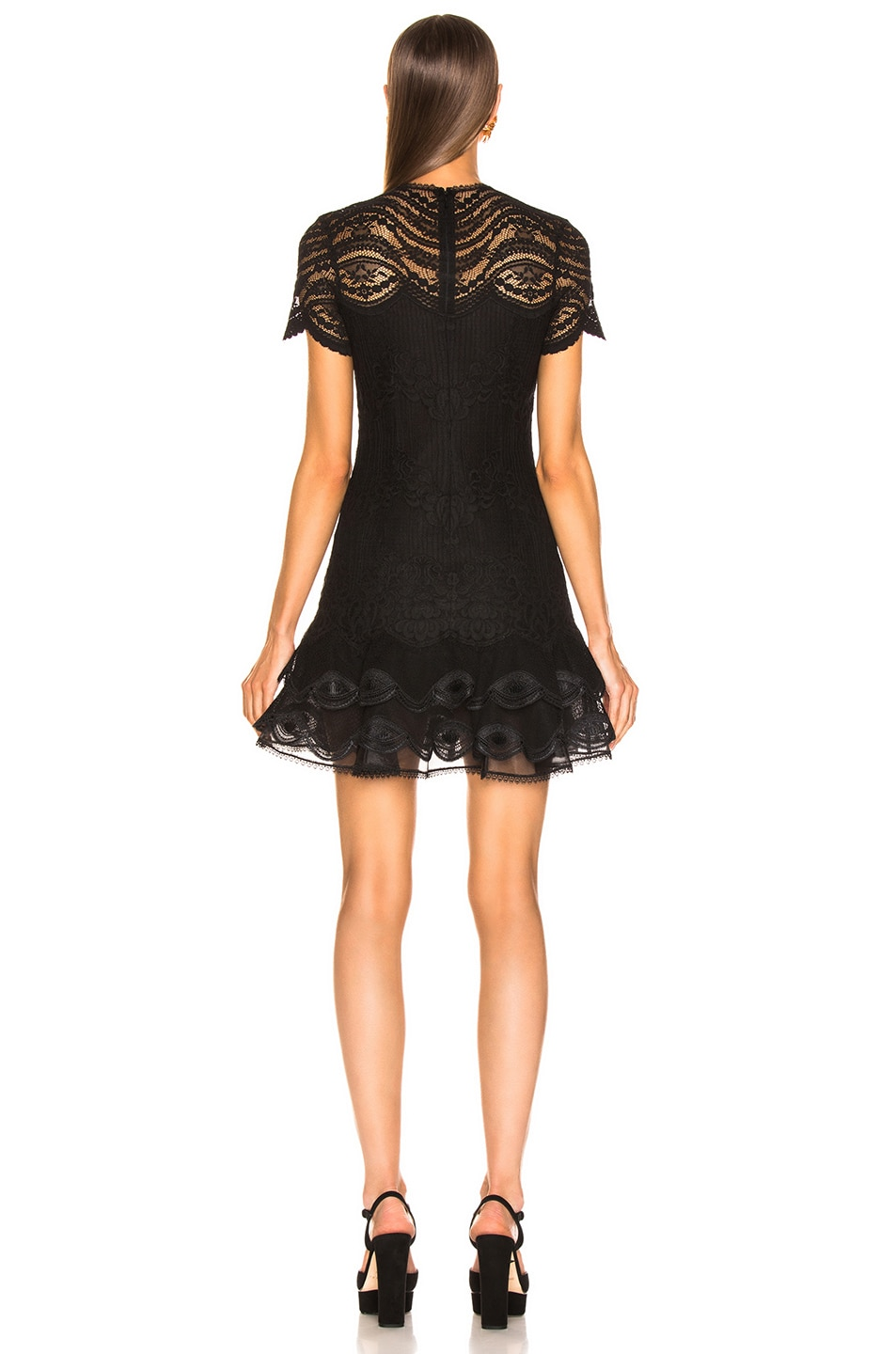 Image 3 of JONATHAN SIMKHAI Lace Cap Sleeve Mini Dress in Black