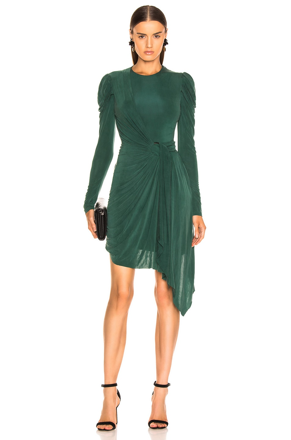 Image 1 of JONATHAN SIMKHAI Sueded Jersey Wrap Dress in Juniper