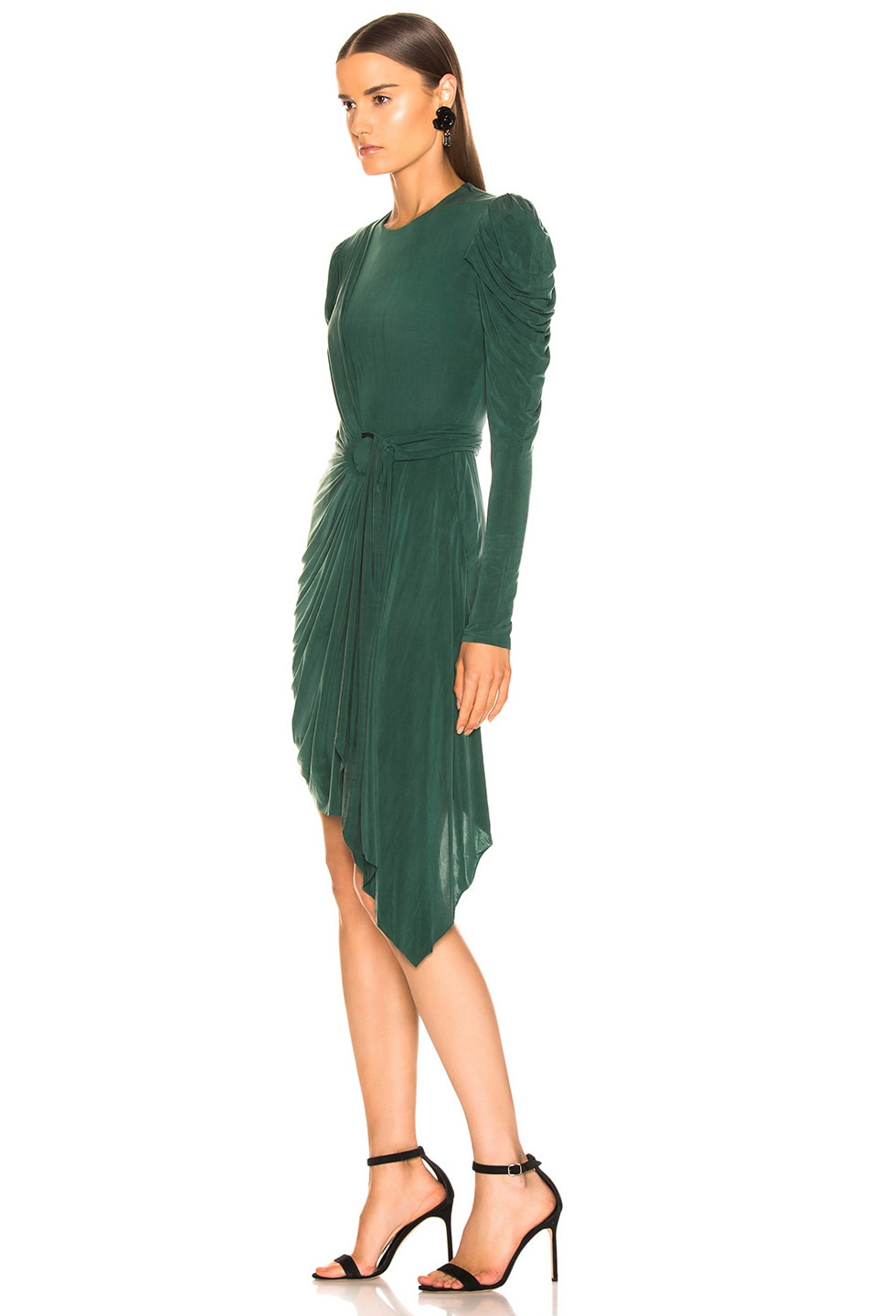 Image 3 of JONATHAN SIMKHAI Sueded Jersey Wrap Dress in Juniper