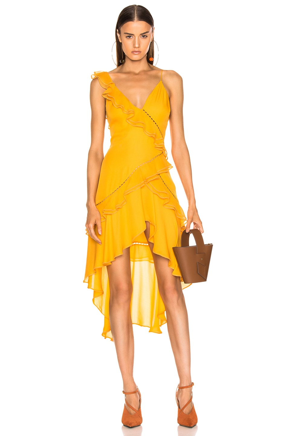 Image 1 of JONATHAN SIMKHAI for FWRD Hi Low Ruffle Dress in Amber