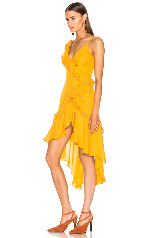 Image 3 of JONATHAN SIMKHAI for FWRD Hi Low Ruffle Dress in Amber
