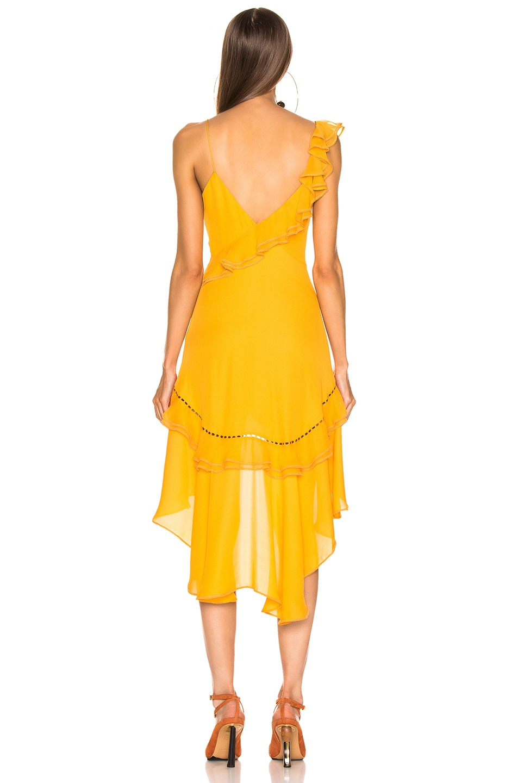 Image 4 of JONATHAN SIMKHAI for FWRD Hi Low Ruffle Dress in Amber