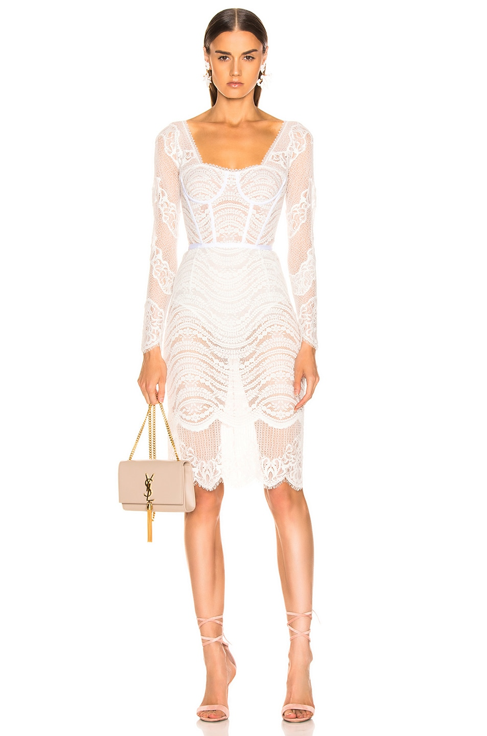 Image 1 of JONATHAN SIMKHAI Lace Bustier Bodysuit Dress in White