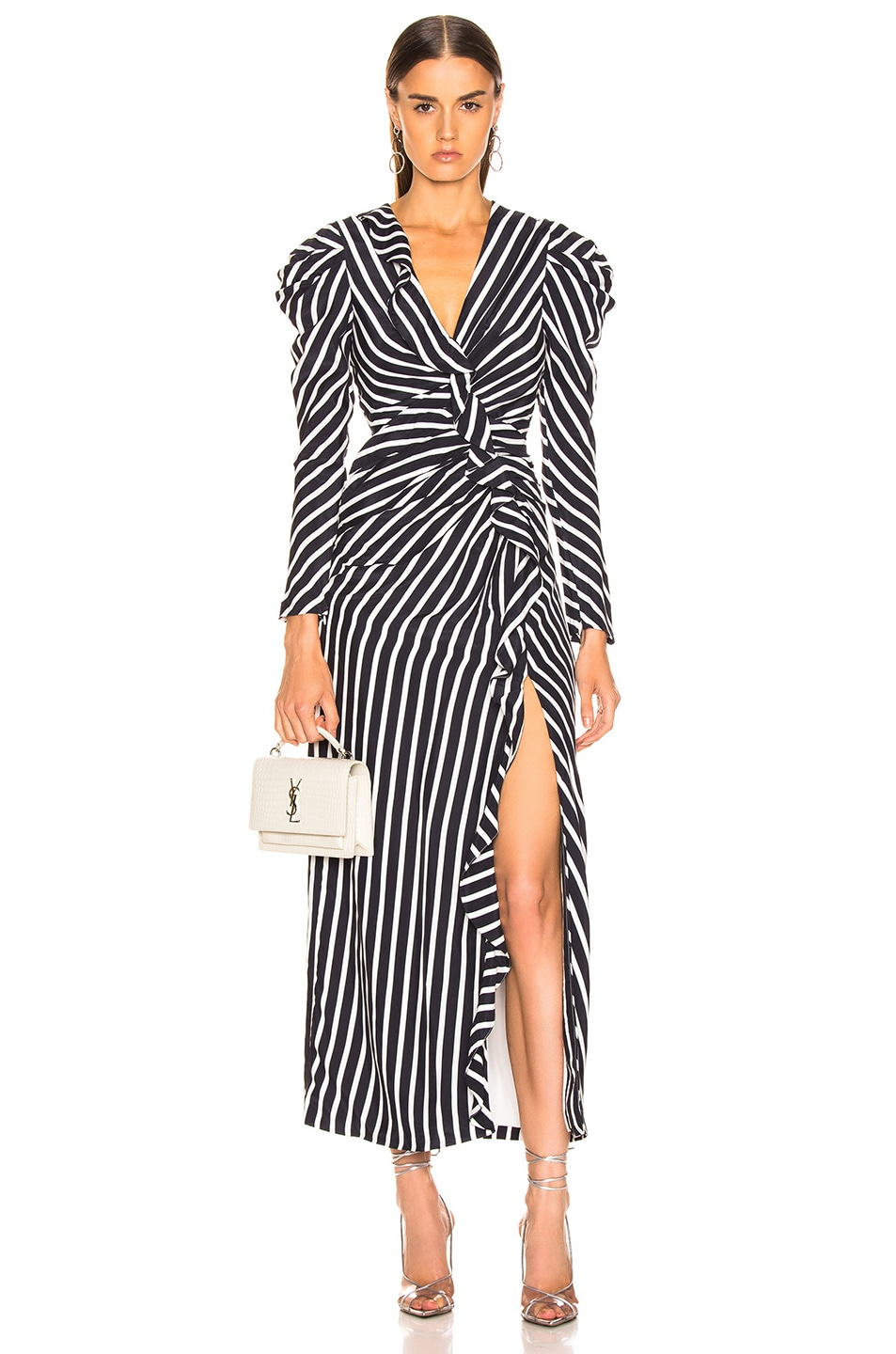 Image 1 of JONATHAN SIMKHAI Multimedia Stripe Ruffle Slit Dress in Midnight & White