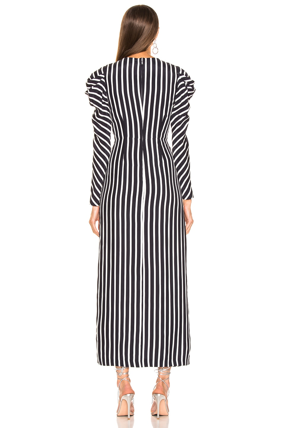 Image 3 of JONATHAN SIMKHAI Multimedia Stripe Ruffle Slit Dress in Midnight & White