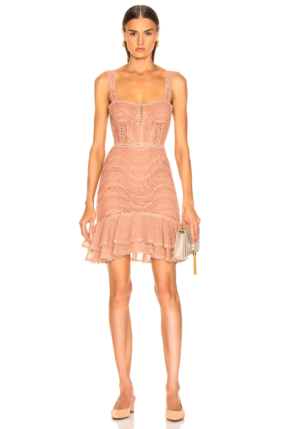 Image 1 of JONATHAN SIMKHAI Lace Bustier Mini Ruffle Dress in Nude
