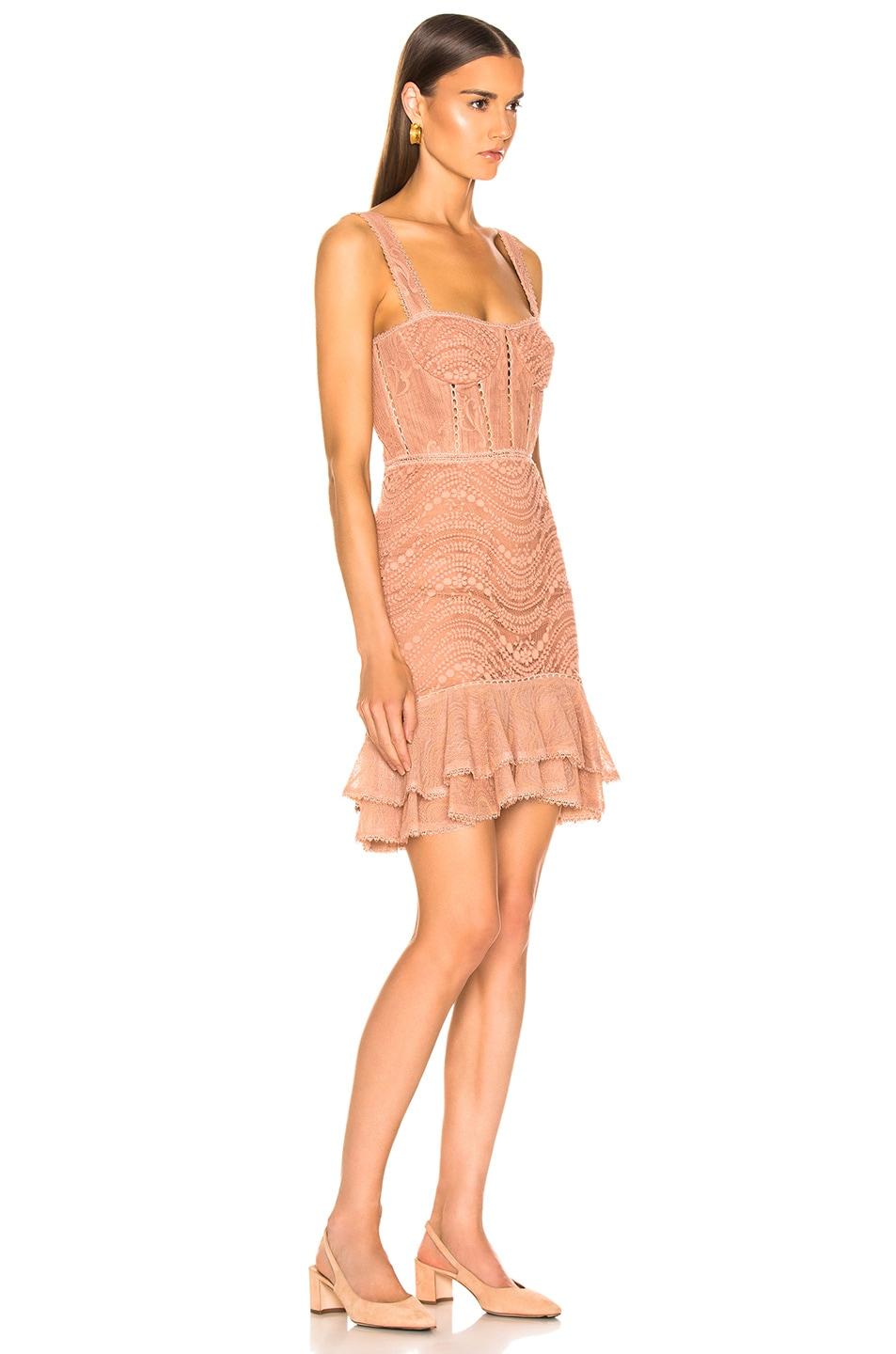 Image 2 of JONATHAN SIMKHAI Lace Bustier Mini Ruffle Dress in Nude