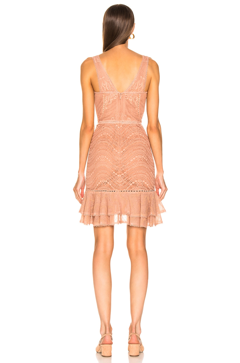Image 3 of JONATHAN SIMKHAI Lace Bustier Mini Ruffle Dress in Nude