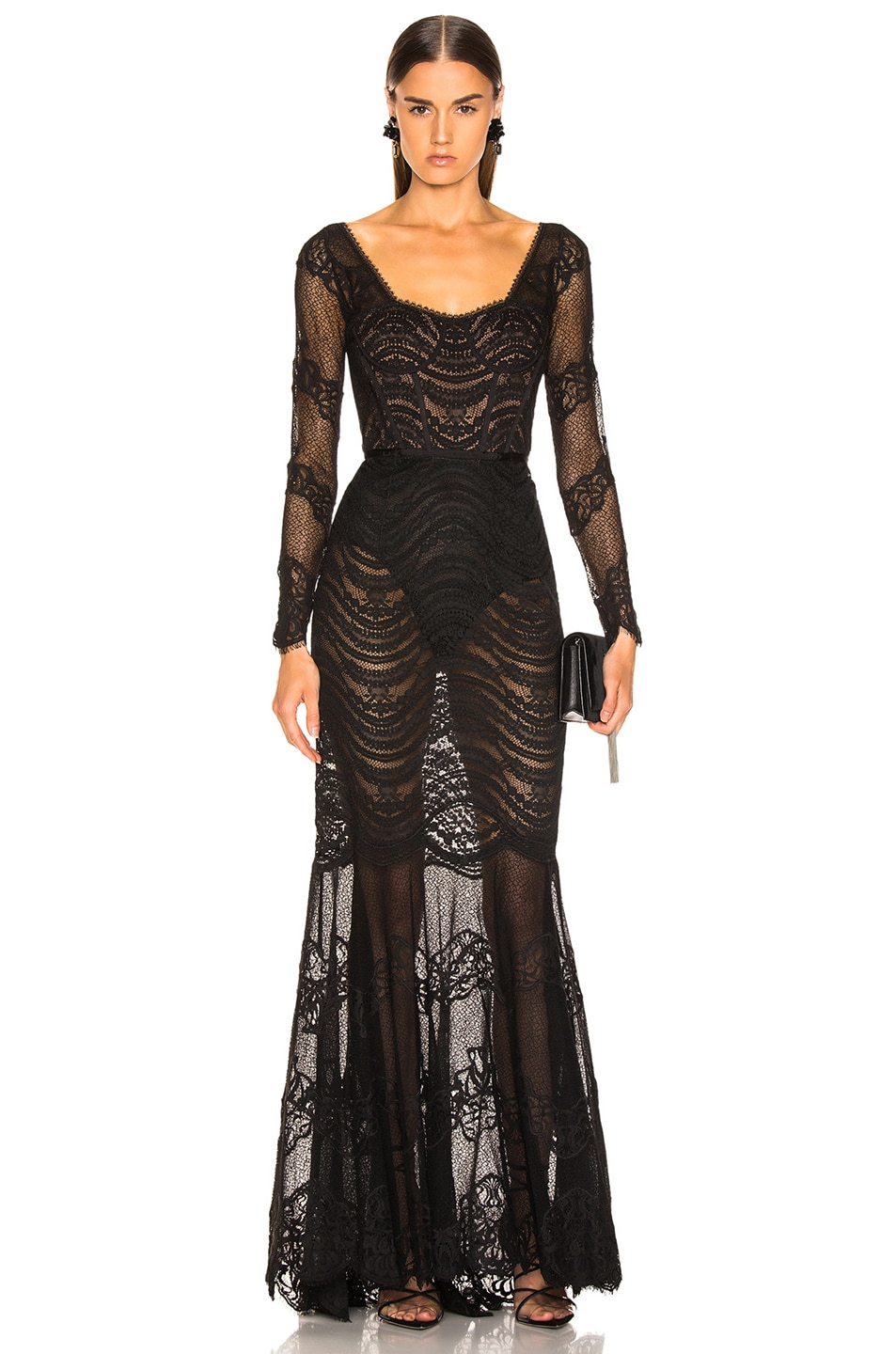 Image 1 of JONATHAN SIMKHAI Lace Bustier Gown in Black