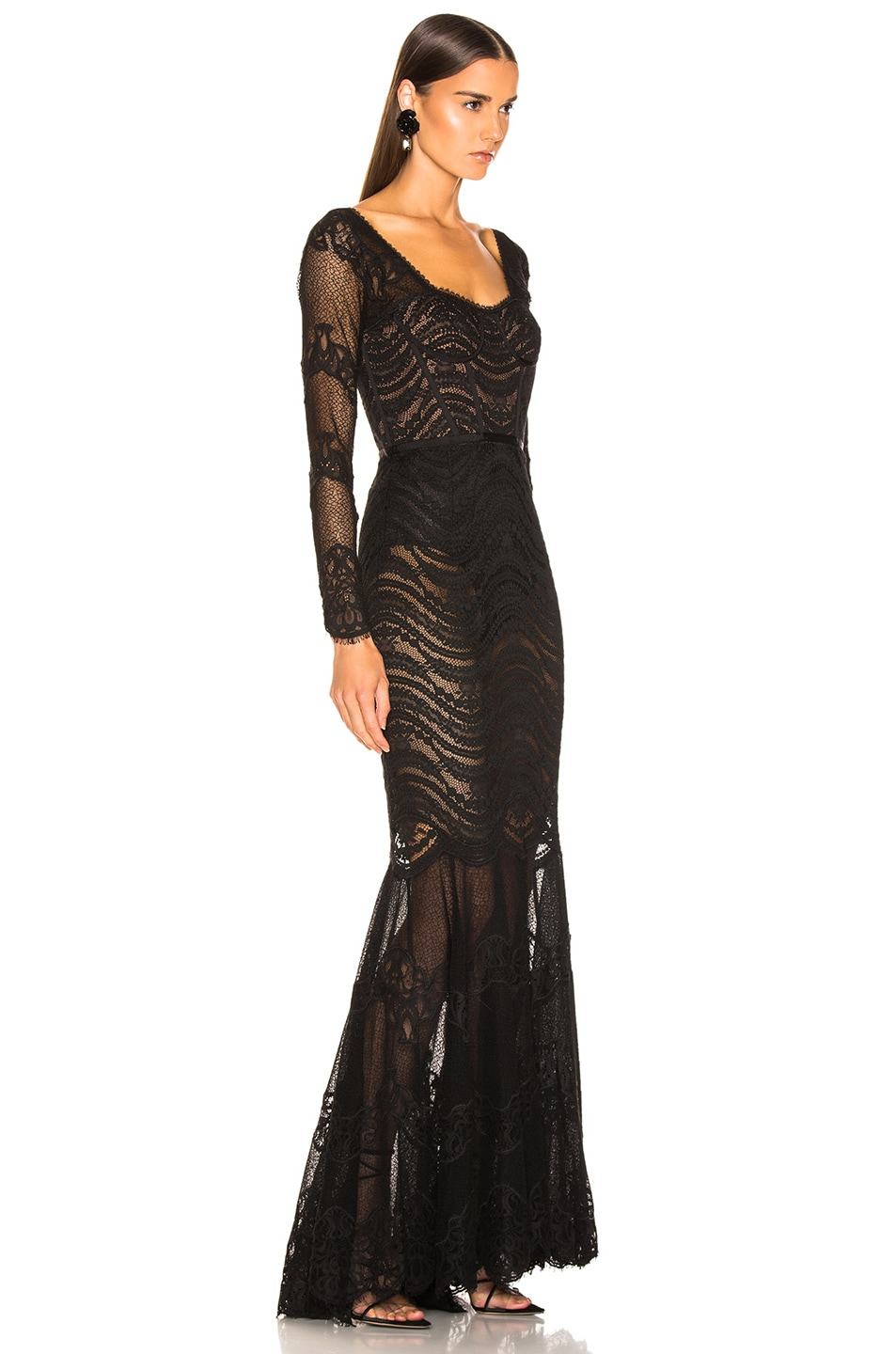 Image 2 of JONATHAN SIMKHAI Lace Bustier Gown in Black