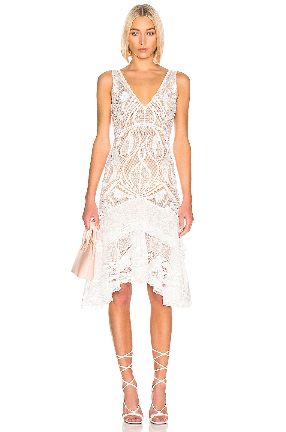 Image 1 of JONATHAN SIMKHAI Guipure V-Neck Tiered Dress in White