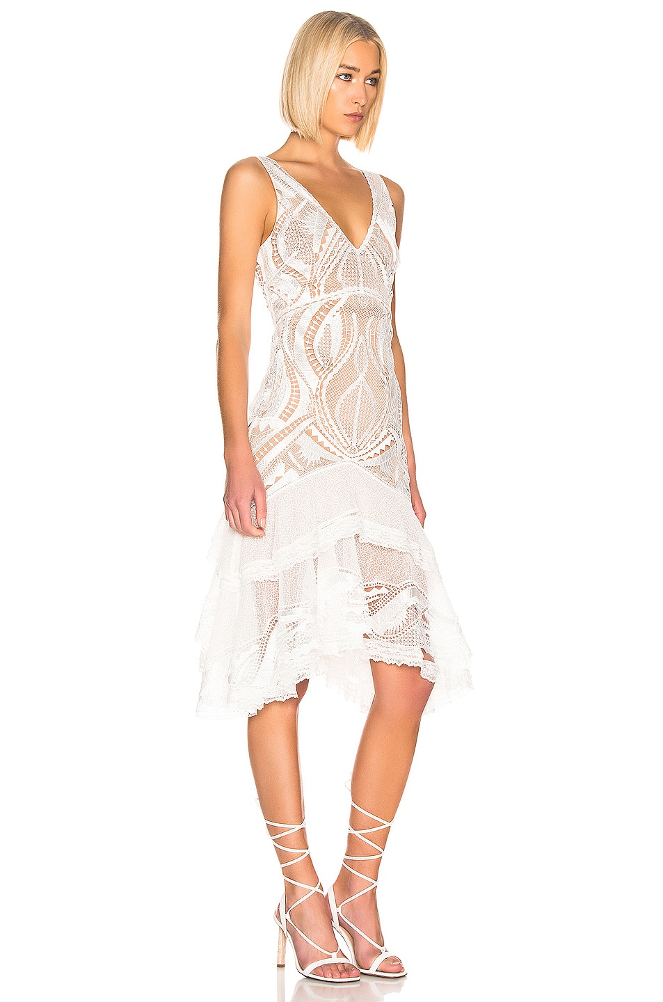 Image 2 of JONATHAN SIMKHAI Guipure V-Neck Tiered Dress in White