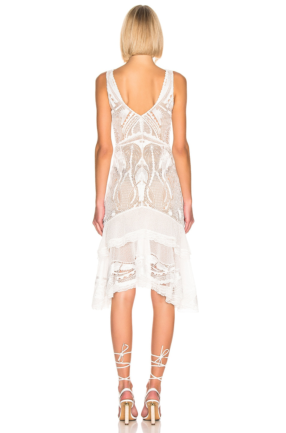 Image 3 of JONATHAN SIMKHAI Guipure V-Neck Tiered Dress in White