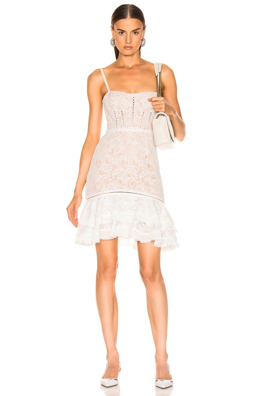 Image 1 of JONATHAN SIMKHAI Multimedia Corded Lace Ruffle Dress in White