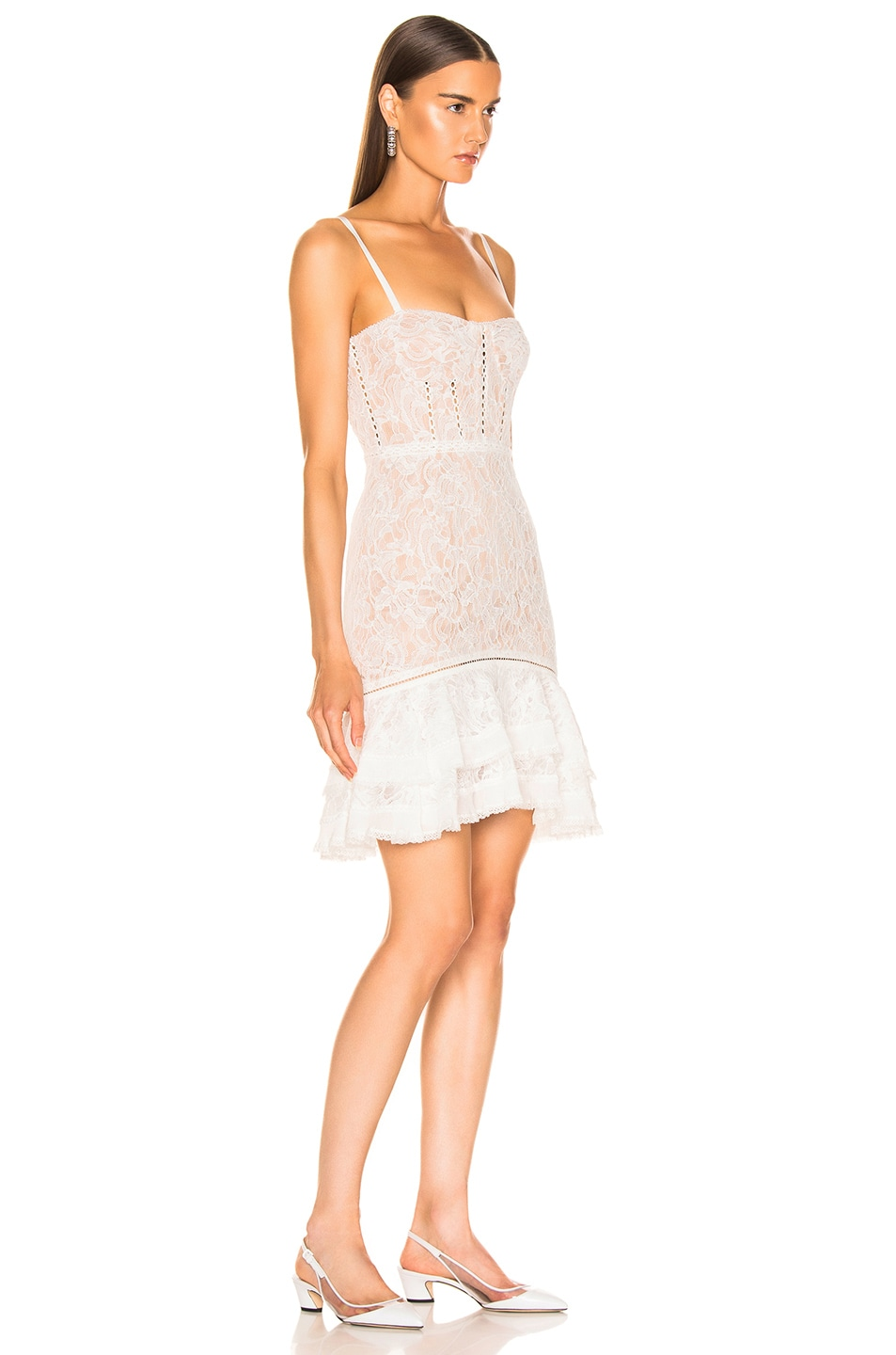 Image 3 of JONATHAN SIMKHAI Multimedia Corded Lace Ruffle Dress in White