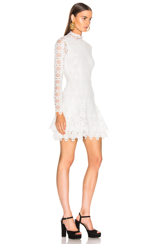 Image 2 of JONATHAN SIMKHAI Guipure Long Sleeve Mini Dress in White