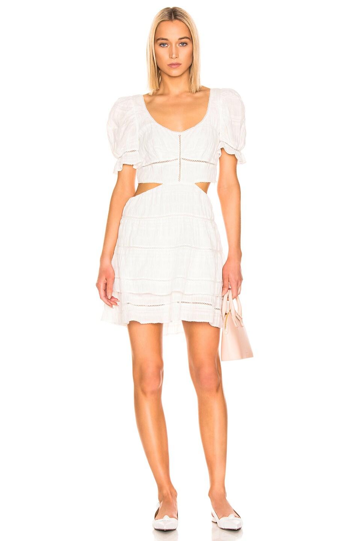 Image 1 of JONATHAN SIMKHAI Lace Cut Out Mini Dress in White