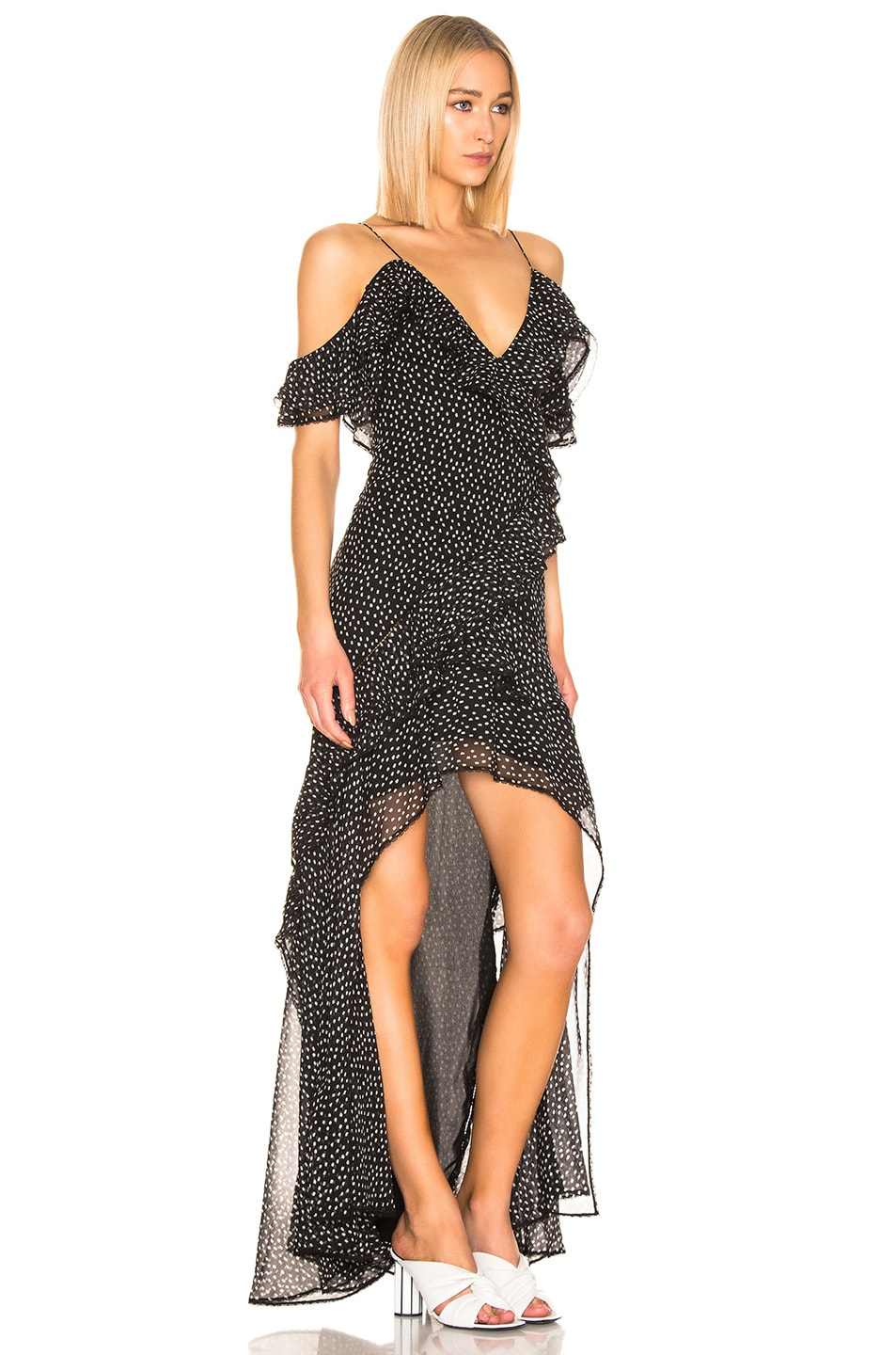 Image 2 of JONATHAN SIMKHAI Speckle High Low Dress in Black & White Print