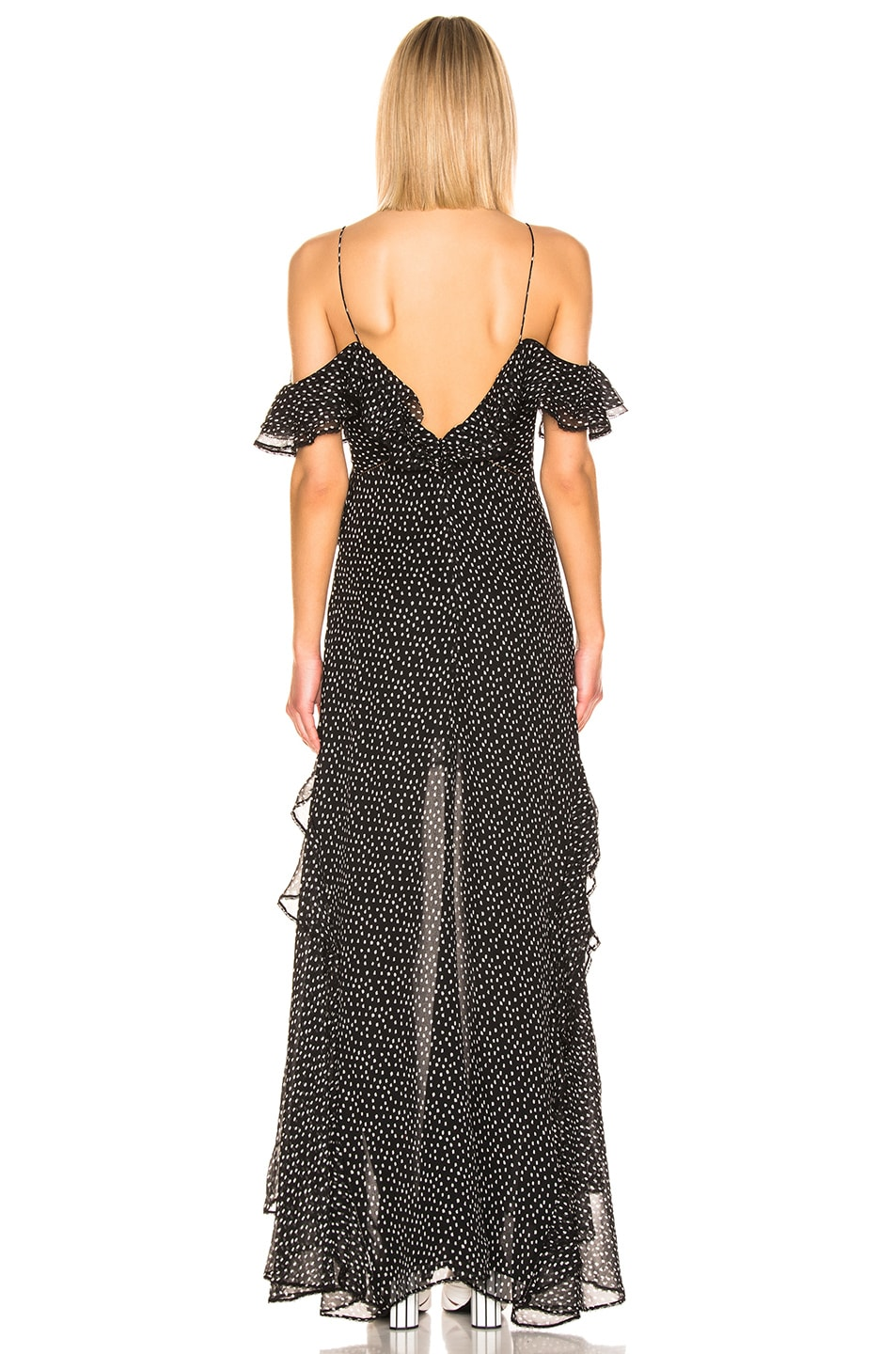 Image 3 of JONATHAN SIMKHAI Speckle High Low Dress in Black & White Print