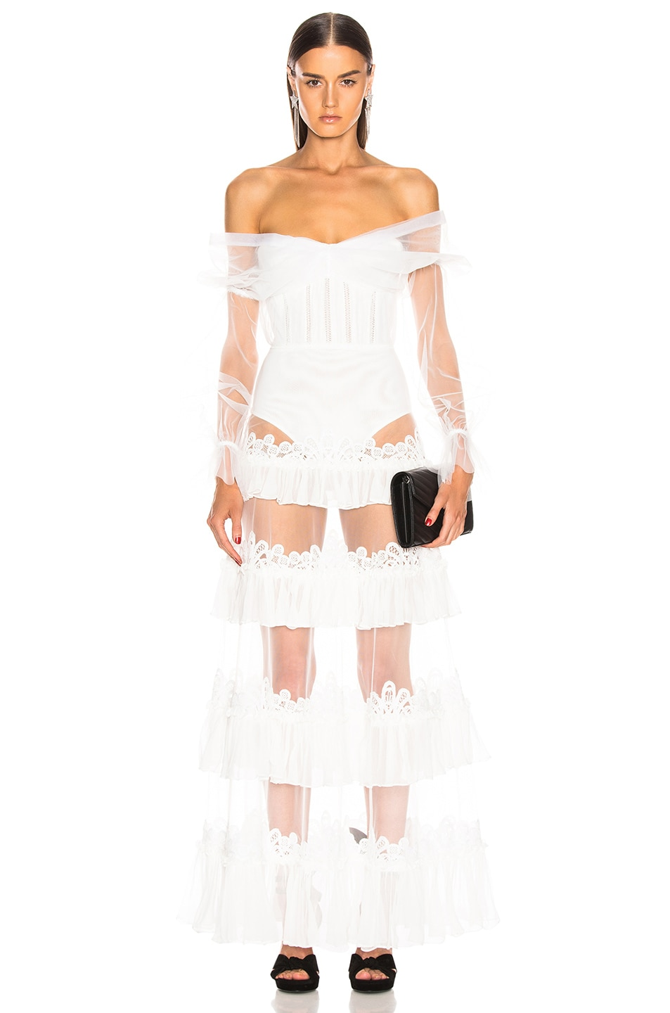 Image 1 of JONATHAN SIMKHAI Threaded Lace Ruffle Bodysuit Dress in White