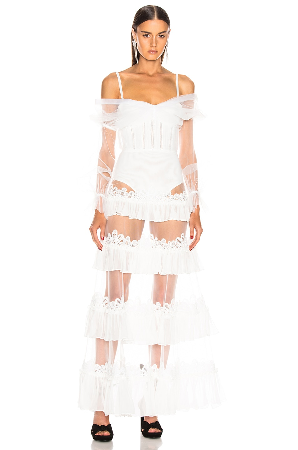 Image 2 of JONATHAN SIMKHAI Threaded Lace Ruffle Bodysuit Dress in White