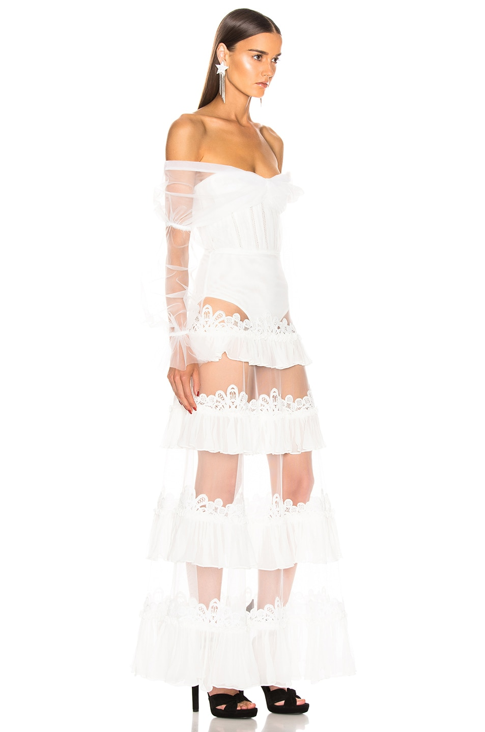 Image 3 of JONATHAN SIMKHAI Threaded Lace Ruffle Bodysuit Dress in White