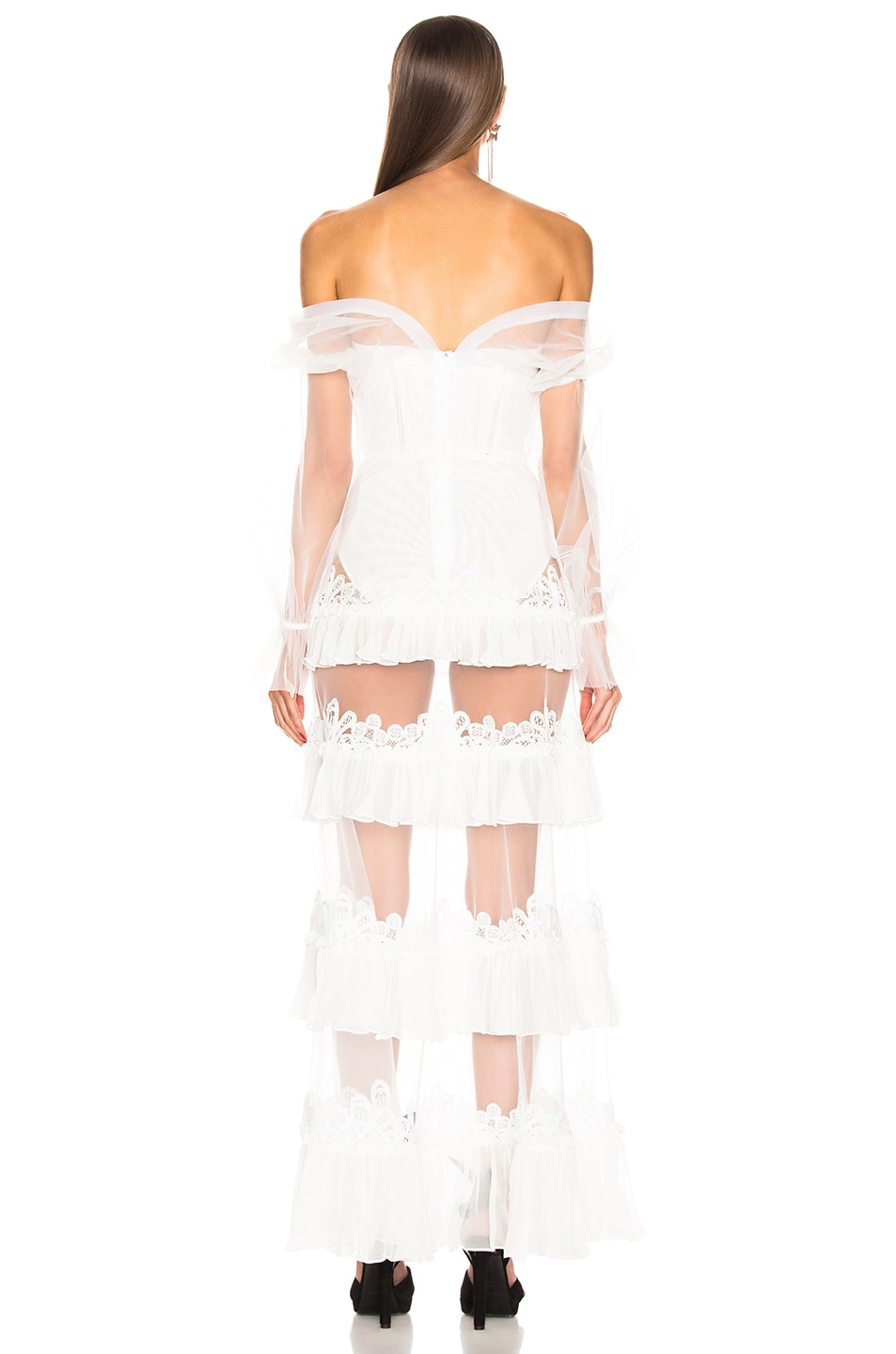 Image 4 of JONATHAN SIMKHAI Threaded Lace Ruffle Bodysuit Dress in White