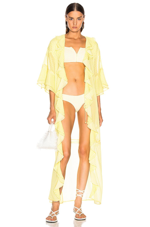 Image 1 of JONATHAN SIMKHAI Gingham Ruffle Maxi Dress in Lemonade & White