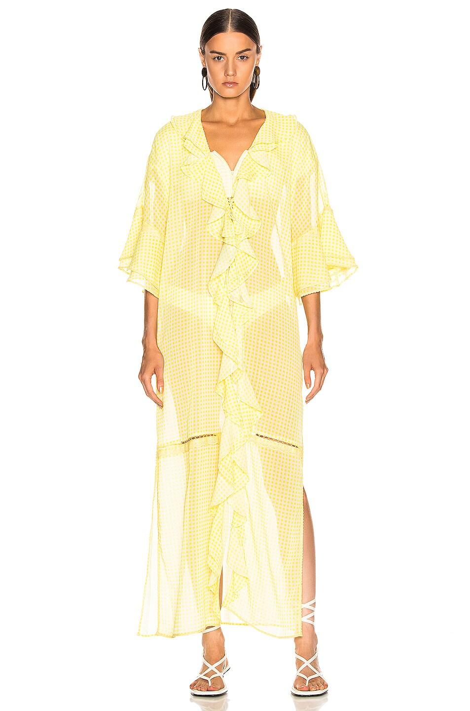 Image 2 of JONATHAN SIMKHAI Gingham Ruffle Maxi Dress in Lemonade & White