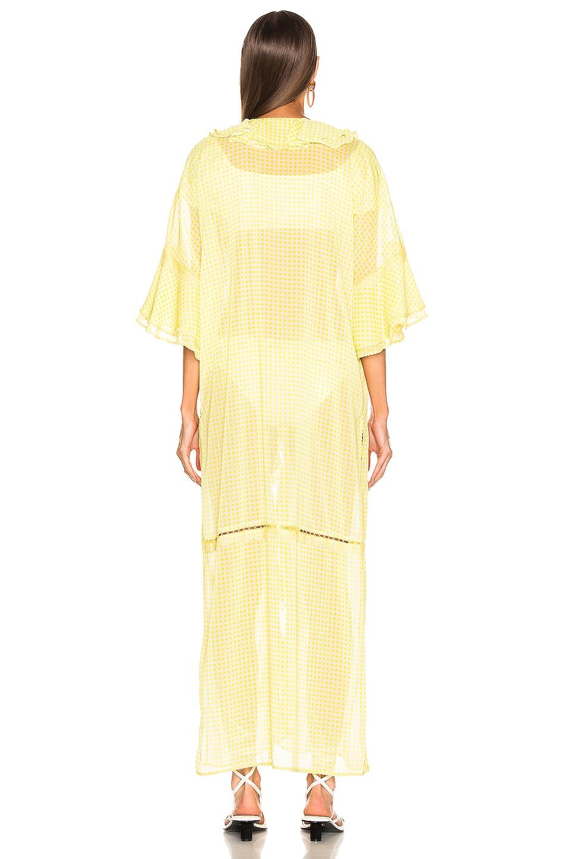 Image 4 of JONATHAN SIMKHAI Gingham Ruffle Maxi Dress in Lemonade & White