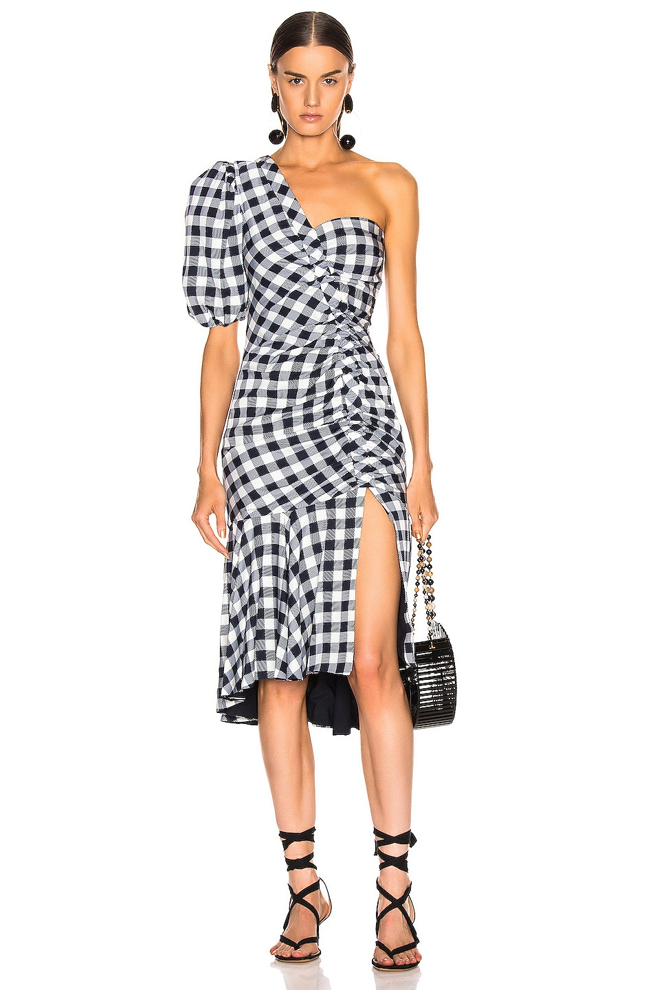 Image 1 of JONATHAN SIMKHAI Lux Twill One Sleeve Dress in Midnight Gingham