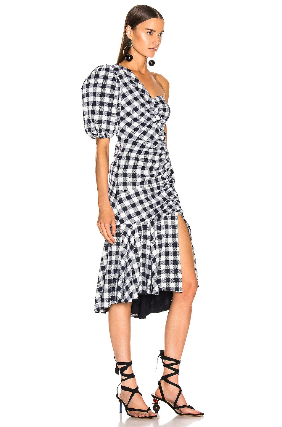 Image 2 of JONATHAN SIMKHAI Lux Twill One Sleeve Dress in Midnight Gingham