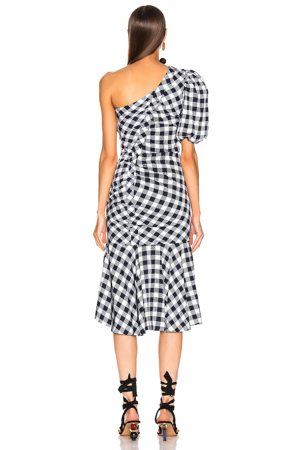 Image 4 of JONATHAN SIMKHAI Lux Twill One Sleeve Dress in Midnight Gingham