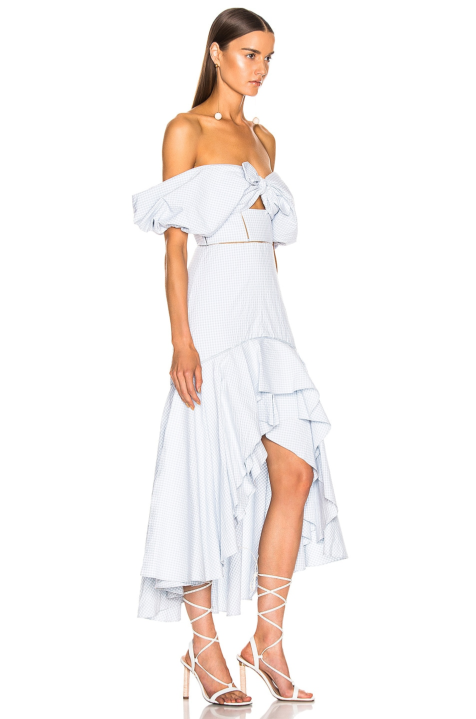 Image 3 of JONATHAN SIMKHAI Seersucker Gingham Off the Shoulder Dress in Light Blue & White