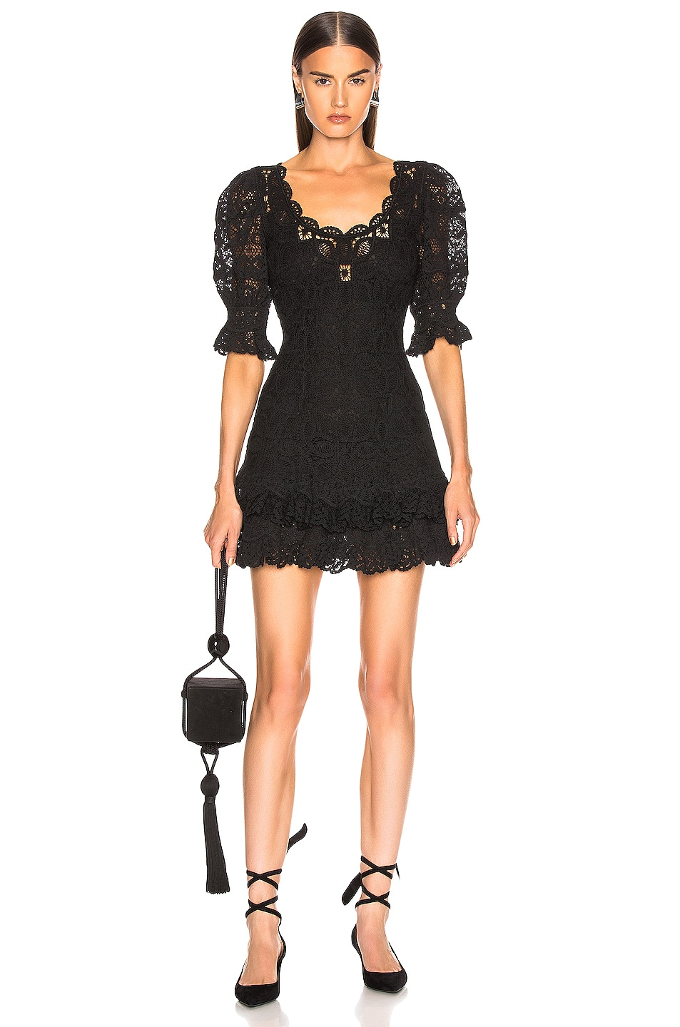 Image 1 of JONATHAN SIMKHAI Crochet Lace Mini Dress in Black