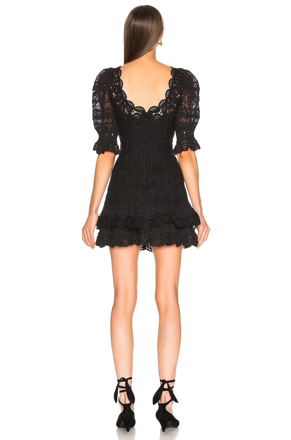 Image 3 of JONATHAN SIMKHAI Crochet Lace Mini Dress in Black