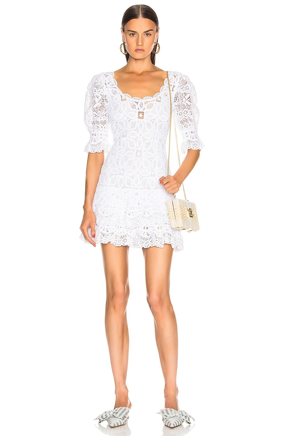 Image 1 of JONATHAN SIMKHAI Crochet Lace Mini Dress in White