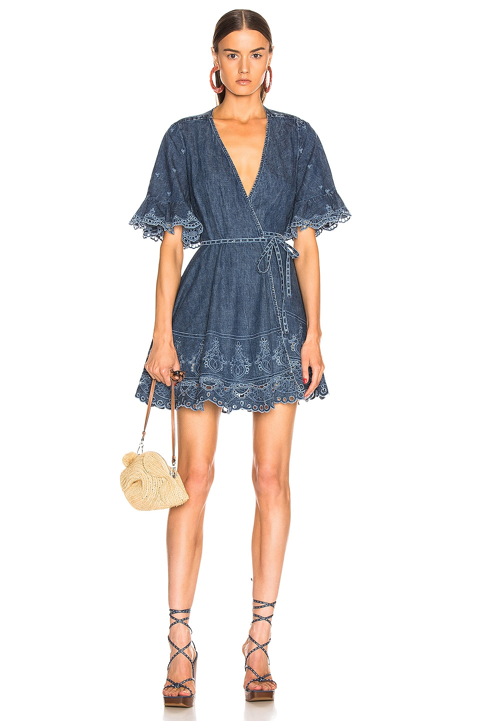 Image 1 of JONATHAN SIMKHAI Eyelet Embroidered Wrap Dress in Indigo