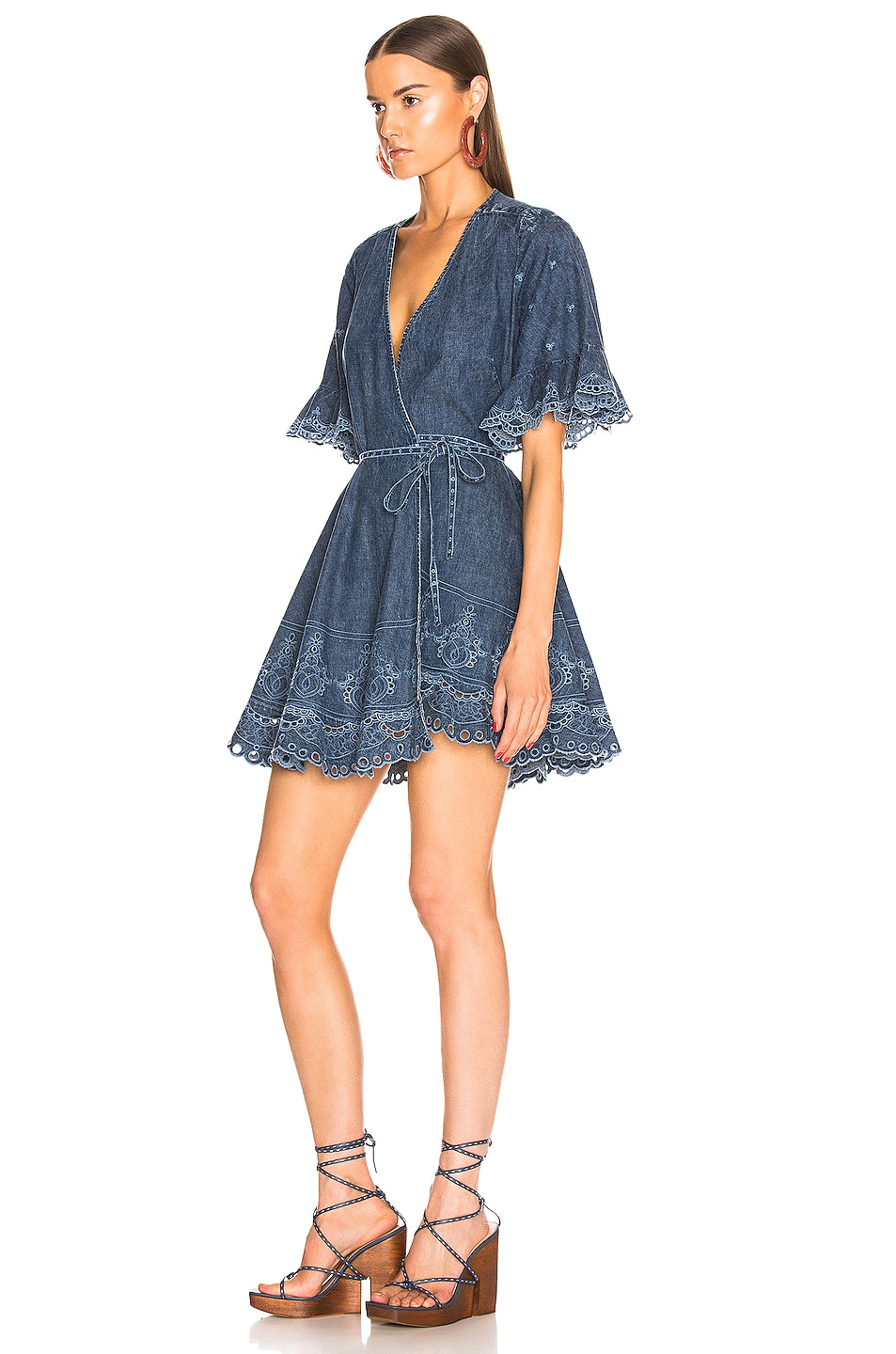 Image 3 of JONATHAN SIMKHAI Eyelet Embroidered Wrap Dress in Indigo