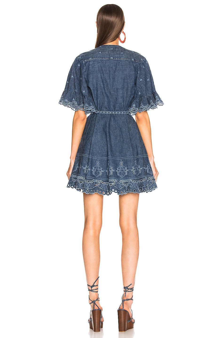 Image 4 of JONATHAN SIMKHAI Eyelet Embroidered Wrap Dress in Indigo