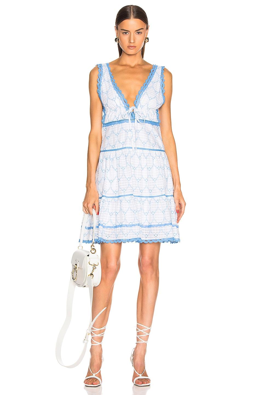 Image 1 of JONATHAN SIMKHAI Stripe Eyelet Gathered Mini Dress in White & Blue