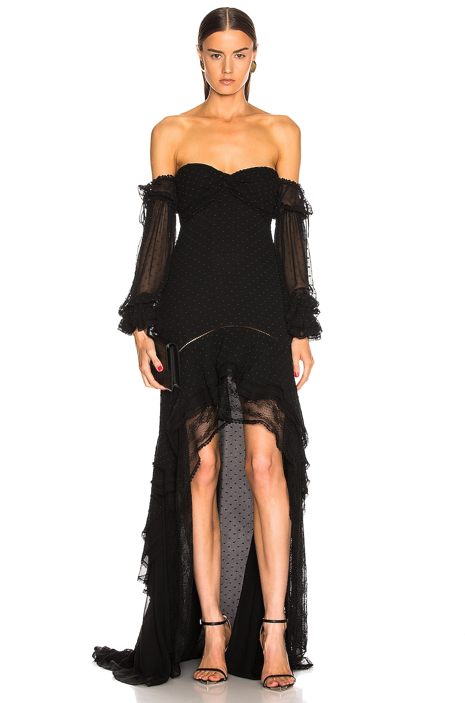 Image 1 of JONATHAN SIMKHAI Embroidered Chiffon Off Shoulder Gown in Black