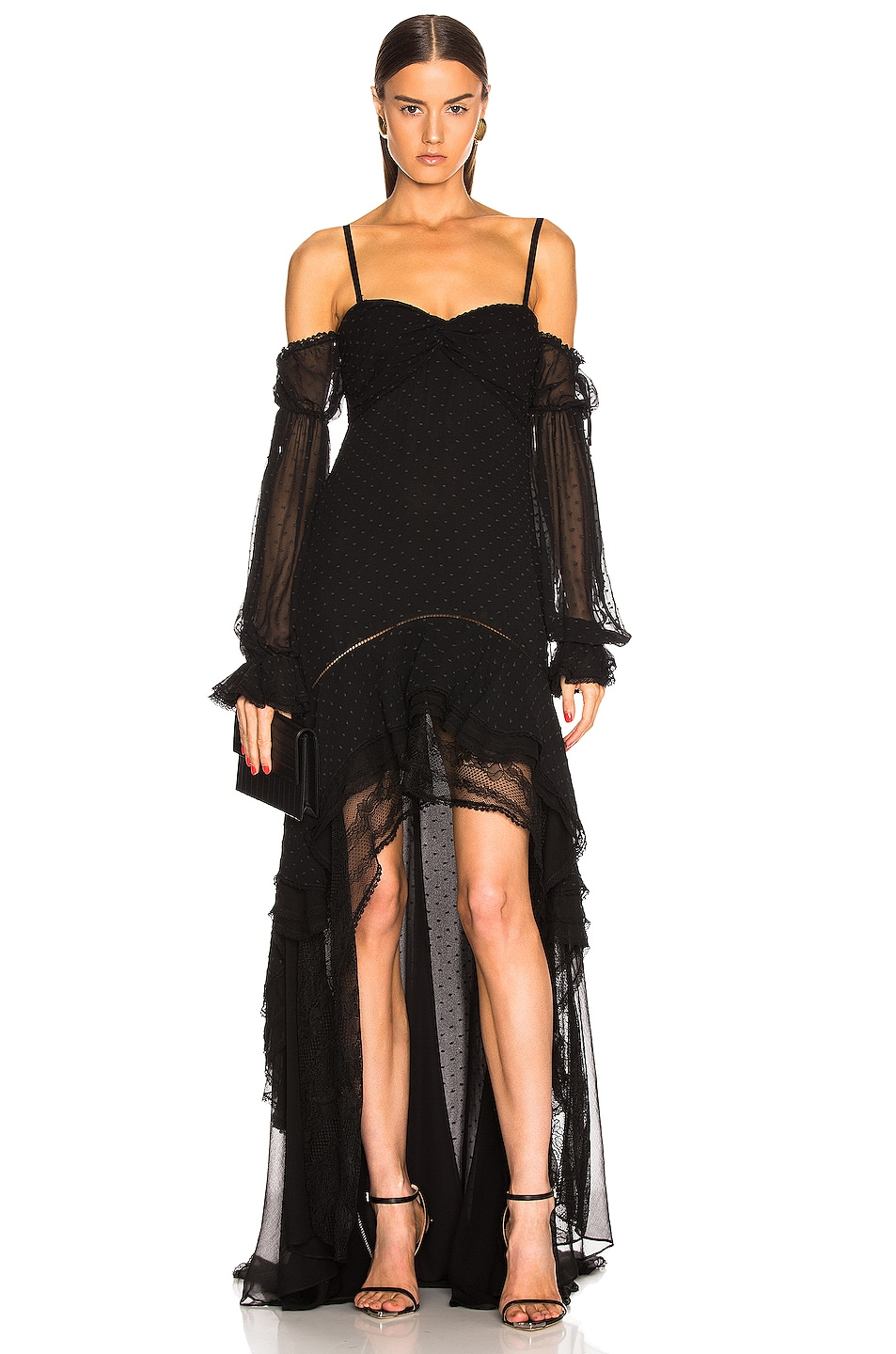 Image 2 of JONATHAN SIMKHAI Embroidered Chiffon Off Shoulder Gown in Black