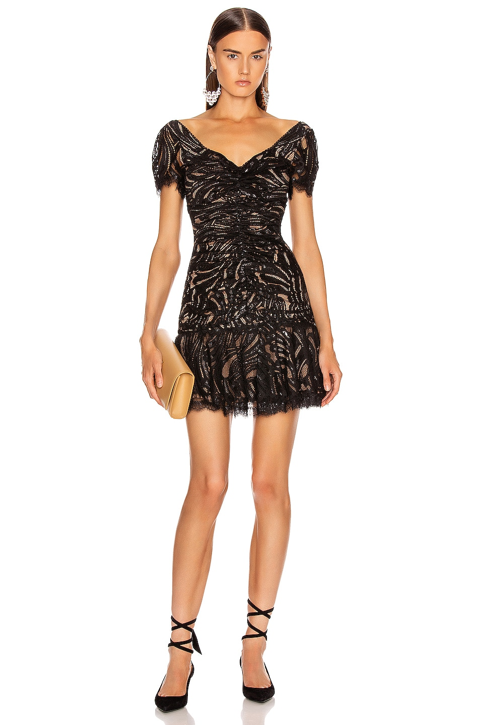 Image 1 of JONATHAN SIMKHAI Metallic Lace Ruffle Dress in Black