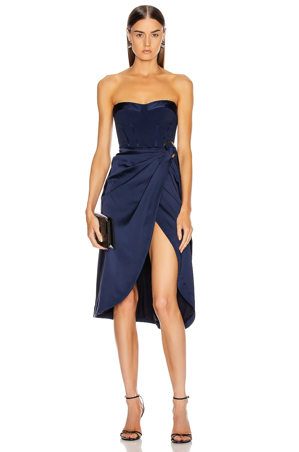 Image 1 of JONATHAN SIMKHAI Crepe Satin Combo Dress in Midnight