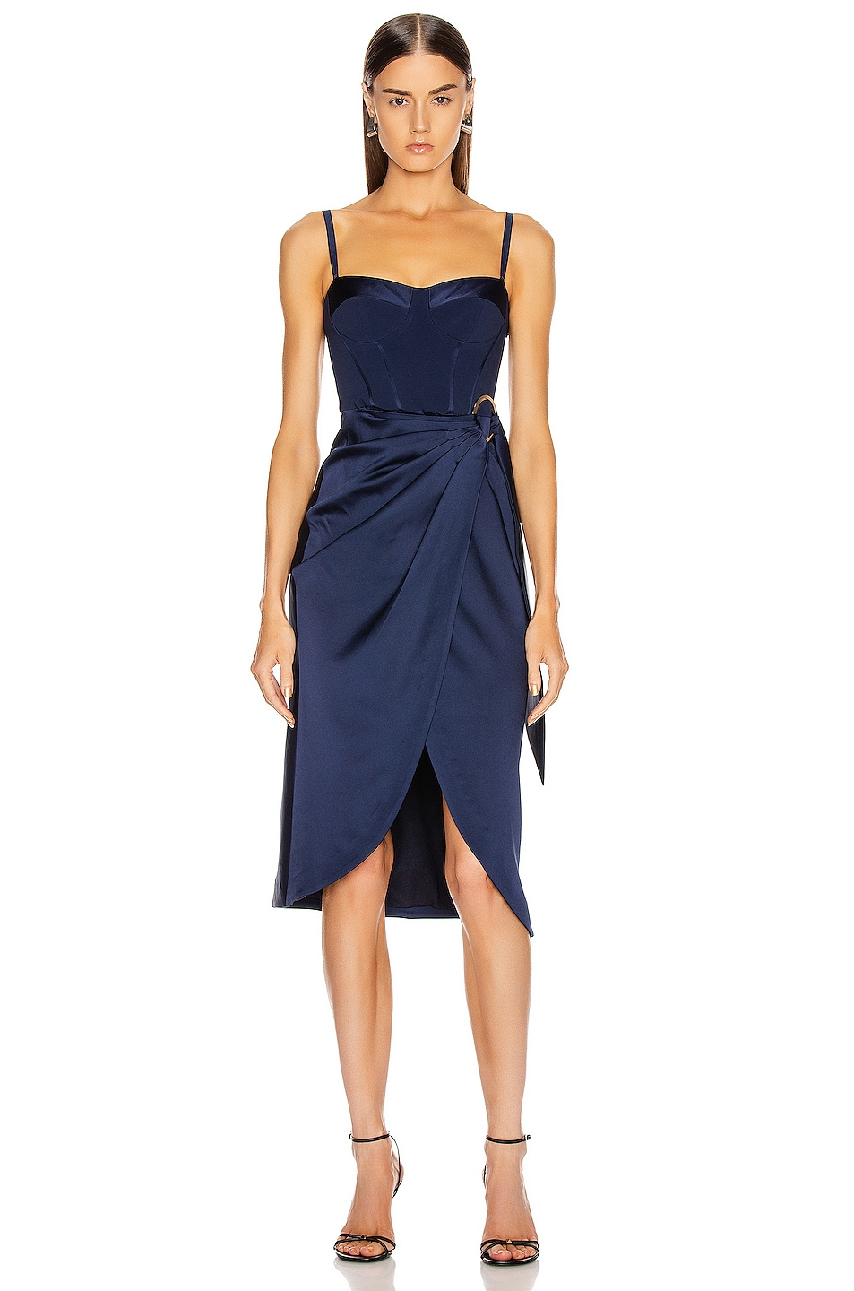 Image 2 of JONATHAN SIMKHAI Crepe Satin Combo Dress in Midnight